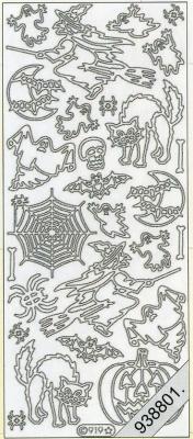 Stickers Helloween Hexe+Fledermaus gold - gold, gold,  gold,  Art - Stickers
