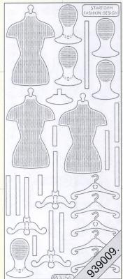 Stickers Schneiderpuppe silber - silber, silber,  silber,  Art - Stickers