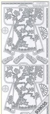 1 Stickers - 10 x 23 cm 1088 - Kimono`s hinten - gold, gold,  Art - Stickers,  1088 - Kimono`s hinten
