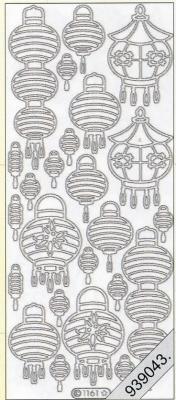 Stickers Chinesische Lampion silber - silber, silber,  silber,  Art - Stickers