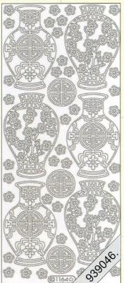 1 Stickers - 10 x 23 cm  - silber, silber,  Art - Stickers
