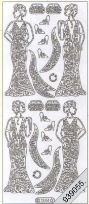 Stickers Kleid,Vintage silber - silber, silber,  silber,  Art - Stickers