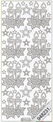 Stickers 0862 - Weihnachtskerze - silber, silber,  Art - Stickers,  0862 - Weihnachtskerze