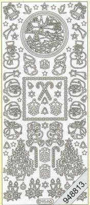 Stickers 954 - gold, gold,  Art - Stickers,  954- Schneemann+Weihnachtsmann Köpfe,  Kerzen,  Glocken,  Baum,  Geschenke