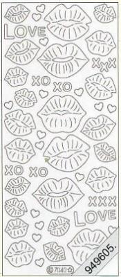 Stickers Flitter/Tr. Love,Lippe silber - silber, silber,  Art - Stickers Glitter transparent,  Art - Glitter Sticker,  Stickers Glitter transparent
