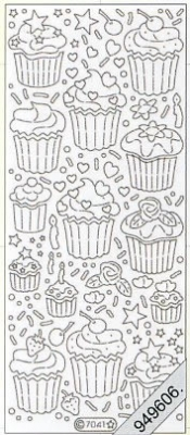 Stickers Flitter/Tr.Cupcake klein silber - silber, silber,  Art - Stickers Glitter transparent,  Art - Glitter Sticker,  Stickers Glitter transparent
