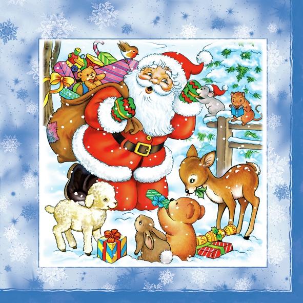 Servietten 33 x 33 cm,  Weihnachten - Weihnachtsmann,  Tiere - Reh / Hirsch,  Weihnachten,  lunchservietten,  Weihnachtsmann,  Reh,  Hasen,  Schafe