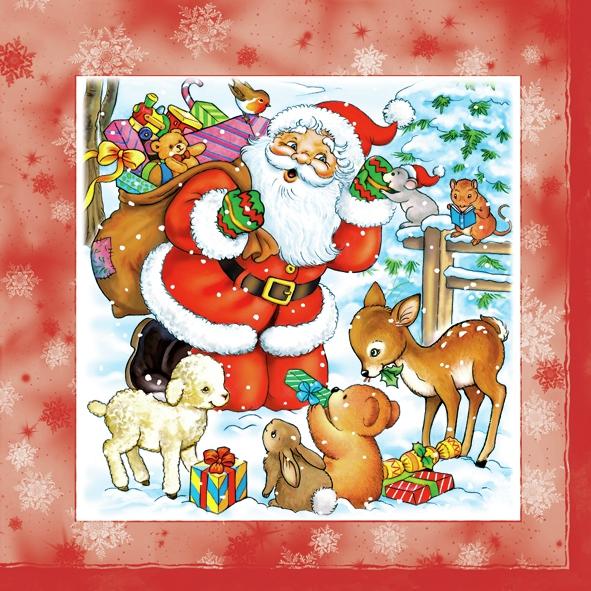 Lunch Servietten ,  Weihnachten - Weihnachtsmann,  Tiere - Reh / Hirsch,  Weihnachten,  lunchservietten,  Weihnachtsmann,  Reh,  Schafe,  Hasen