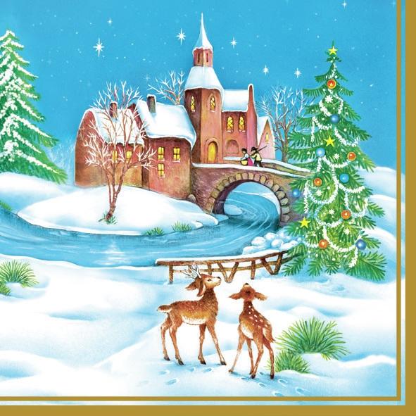 Daisy,  Winter - Schnee,  Tiere - Reh / Hirsch,  Weihnachten,  lunchservietten,  Reh,  Schnee