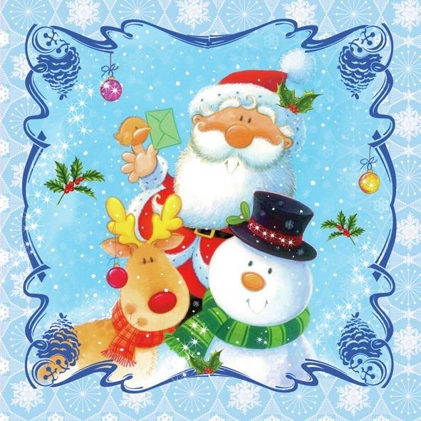 Servietten Winter, Tiere - Rentiere,  Weihnachten - Weihnachtsmann,  Winter - Schneemänner,  Weihnachten,  lunchservietten,  Schneemann,  Weihnachtsmann,  Rentier