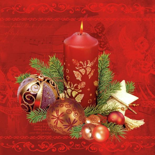 Lunch Servietten ,  Weihnachten - Kerzen,  Weihnachten,  lunchservietten,  Baumkugeln,  Kerzen