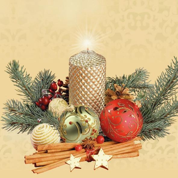 Lunch Servietten ,  Weihnachten - Kerzen,  Weihnachten,  lunchservietten,  Kerzen,  Baumkugeln