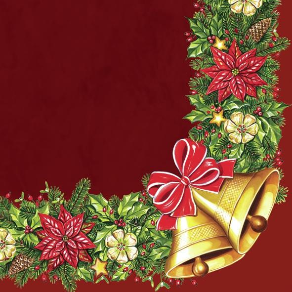 Servietten 33 x 33 cm,  Weihnachten - Glocken,  Weihnachten - Adventskranz,  Weihnachten,  lunchservietten,  Adventskranz,  Glocken
