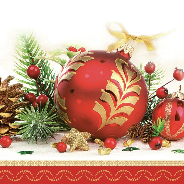 Servietten 33 x 33 cm,  Weihnachten - Sterne,  Weihnachten - Baumschmuck,  Weihnachten,  lunchservietten,  Tannenzweig,  Zapfen