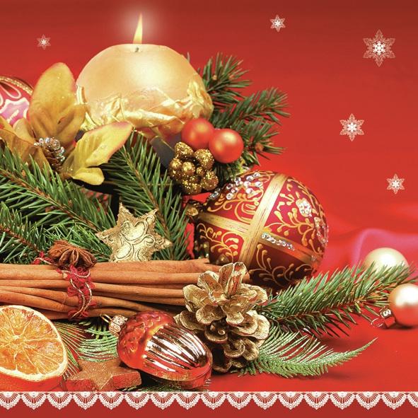 Daisy,  Früchte - Zapfen,  Weihnachten - Sterne,  Weihnachten - Baumschmuck,  Weihnachten,  lunchservietten,  Tannenzweig,  Kerzen,  Zimt