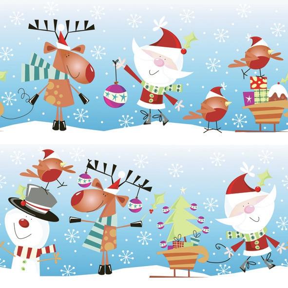 Servietten Winter, Winter - Schneemänner,  Weihnachten - Weihnachtsmann,  Weihnachten,  lunchservietten,  Weihnachtsmann,  Schneemann,  Rentier,  lustig