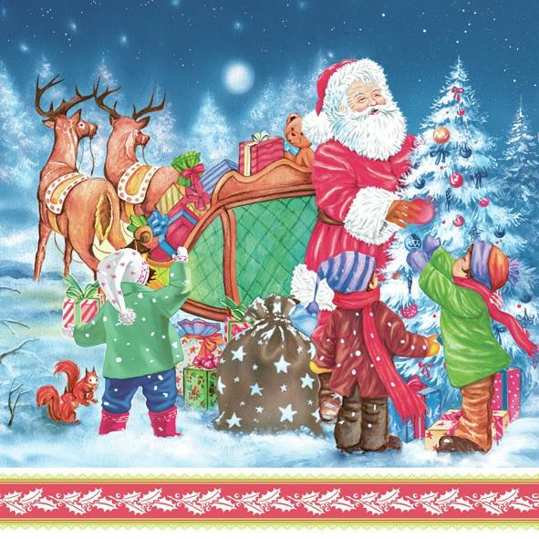 Lunch Servietten , Tiere - Rentiere,  Menschen - Kinder,  Weihnachten - Weihnachtsmann,  Weihnachten,  lunchservietten,  Weihnachtsmann,  Schlitten,  Geschenke,  Kinder,  Rentier