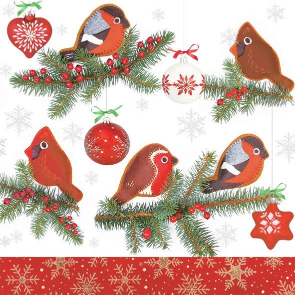 Lunch Servietten ,  Tiere - Vögel,  Winter - Kristalle / Flocken,  Weihnachten - Baumschmuck,  Weihnachten,  lunchservietten,  Vögel,  Zweige,  Baumschmuck