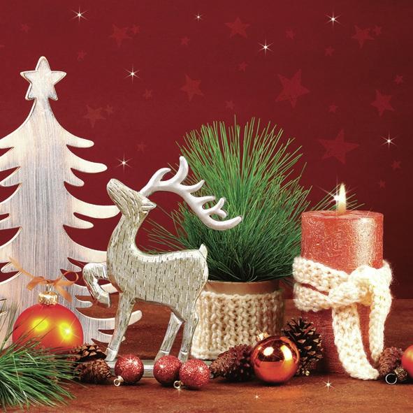 Lunch Servietten ,  Früchte - Zapfen,  Tiere - Reh / Hirsch,  Weihnachten - Baumschmuck,  Weihnachten,  lunchservietten,  Kerzen,  Hirsch,  Tannenbaum