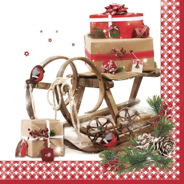Daisy,  Winter - Schlitten,  Weihnachten,  lunchservietten,  Geschenke,  Schlitten,  Zapfen