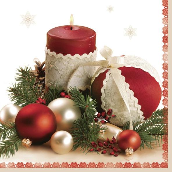 Lunch Servietten ,  Weihnachten - Baumschmuck,  Weihnachten,  lunchservietten,  Kerzen,  Kugeln,  Tannenzweig