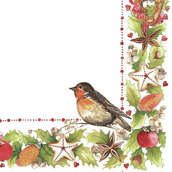 Motivservietten Gesamtübersicht,  Früchte - Zapfen,  Pflanzen - Ilex,  Tiere - Vögel,  Weihnachten,  lunchservietten,  Sterne,  Äpfel,  Vögel