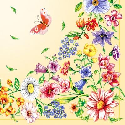 Lunch Servietten Blumenborte  gelb