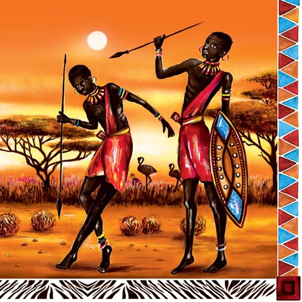Lunch Servietten Afrika-Krieger