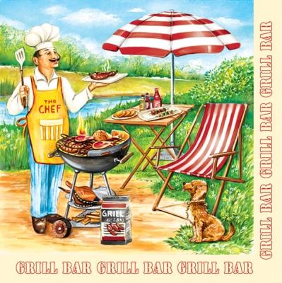 Lunch Servietten BBQ im Garten,  Tiere - Hunde,  Menschen - Personen,  Essen - Fleisch,  Everyday,  lunchservietten,  Fleisch,  Menschen,  Hunde
