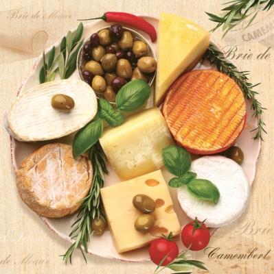 Lunch Servietten Käse+Oliven+Kräuter,  Pflanzen - Küchenkräuter,  Früchte - Oliven,  Essen - Käse,  Everyday,  lunchservietten,  Käse,  Oliven,  Kräuter