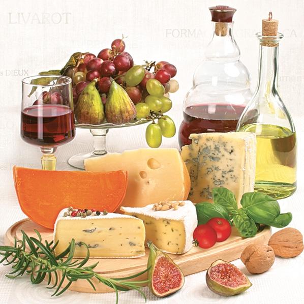 Lunch Servietten Käse,  Getränke - Wein / Sekt,  Früchte - Weintrauben,  Essen - Käse,  Everyday,  lunchservietten,  Rotwein,  Weintrauben,  Käse