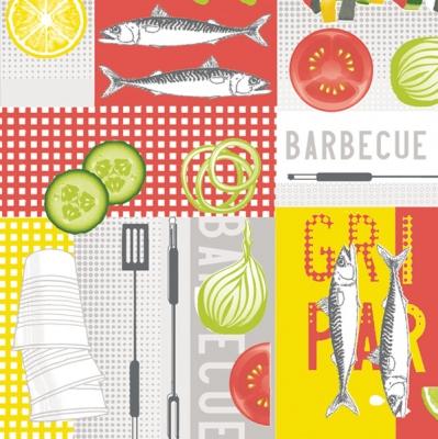 Lunch Servietten BBQ ,  Essen -  Sonstiges,  Essen - Fisch,  Everyday,  lunchservietten,  Barbecue,  grillen,  Fische,  Gemüse