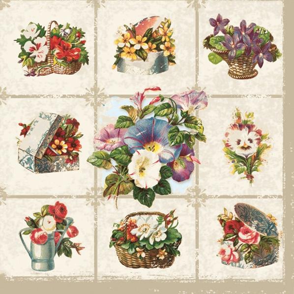 Napkins 33x33 cm - flowers