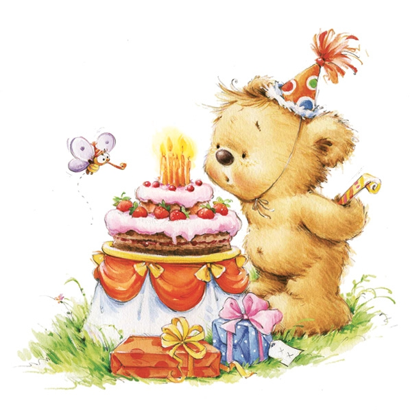 Lunch Servietten Geburtstags Teddy,  Weihnachten - Geschenke,  Essen - Kuchen / Keks,  Ereignisse - Geburtstag,  Everyday,  lunchservietten,  Teddybär,  Torte,  Geburtstag,  Kinder