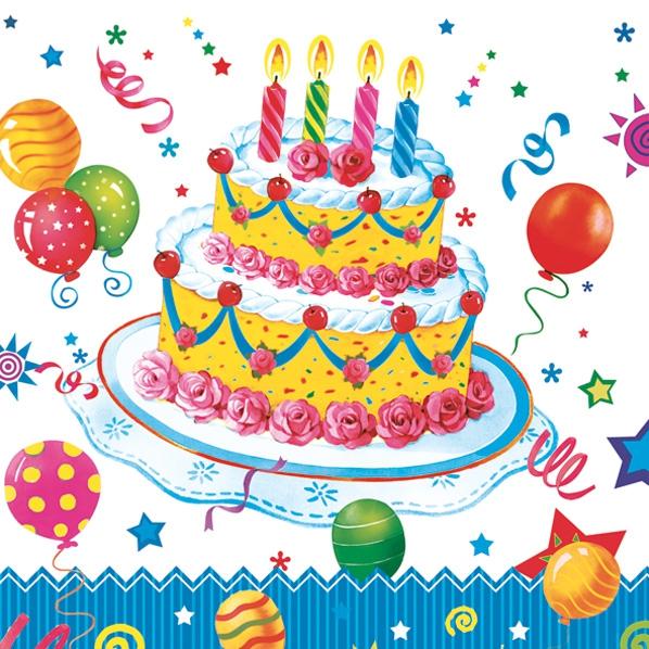 Servietten / Kuchen - Keks,  Essen - Kuchen / Keks,  Ereignisse - Geburtstag,  Everyday,  lunchservietten,  Geburtstag,  Torte,  Luftballon