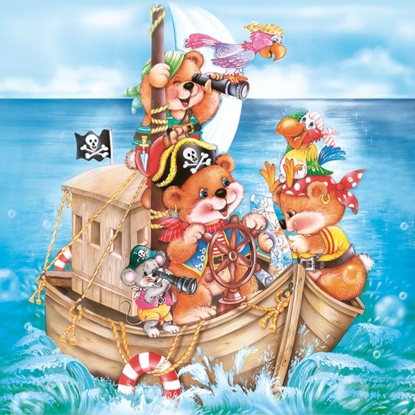 Lunch Servietten Piraten Baer,  Spielsachen - Stofftiere,  Regionen - Strand / Meer - Schiffe,  Everyday,  lunchservietten,  Schiff,  Pirat,  Teddybär