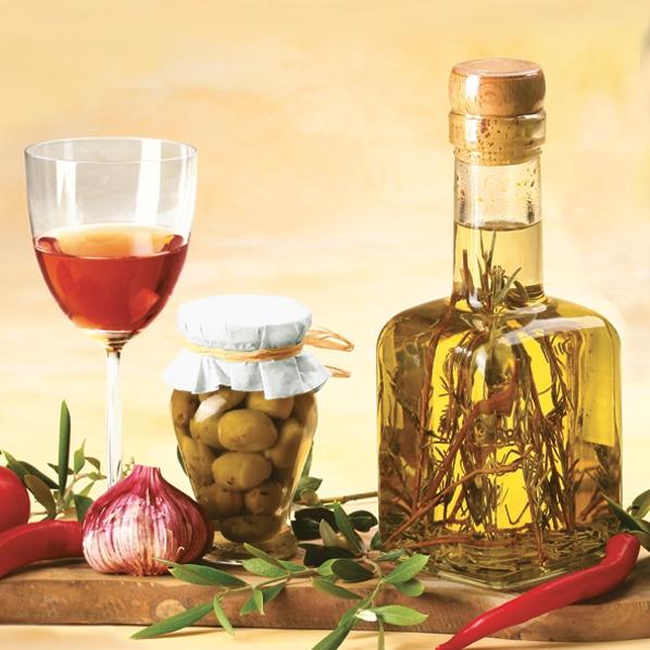 Servietten / Oliven,  Essen - Gewürze,  Früchte - Oliven,  Everyday,  lunchservietten,  Oliven,  Olivenöl,  Knoblauch