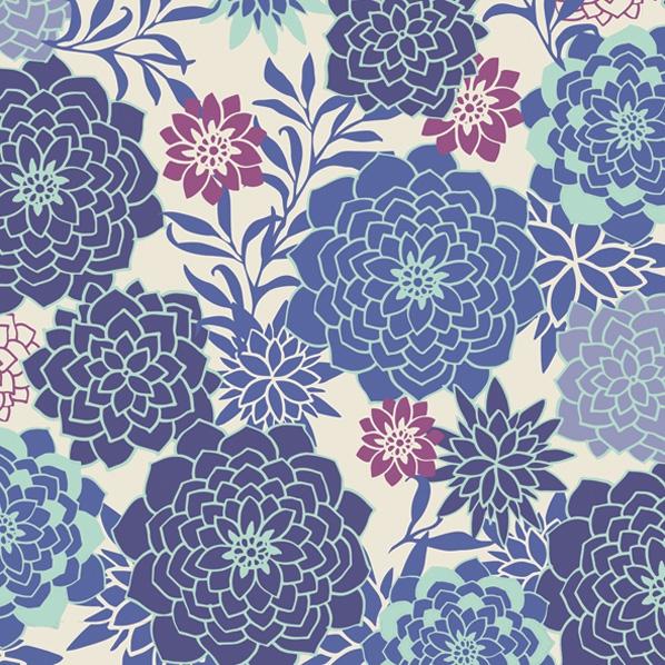 Lunch Servietten Blumenmuster blau
