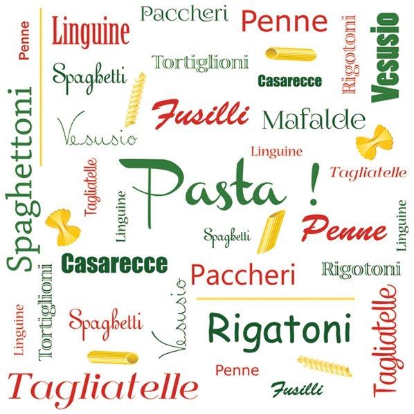 Lunch Servietten ,  Sonstiges - Schriften,  Essen - Pasta,  Everyday,  lunchservietten,  Schriften,  Nudeln