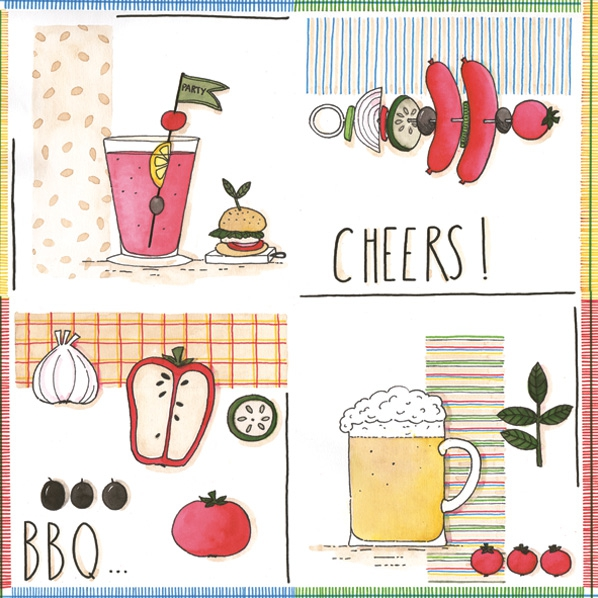 Lunch Servietten ,  Gemüse - Tomaten,  Essen - Fleisch,  Getränke -  Sonstige,  Everyday,  lunchservietten,  Bier,  Wurst,  Paprika