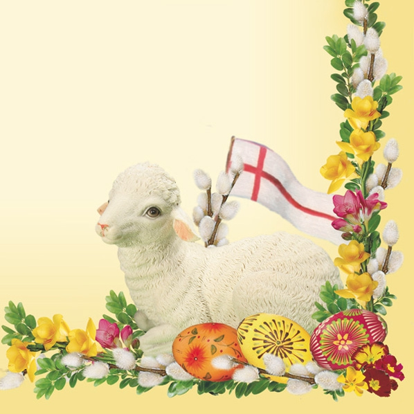 Lunch Servietten Easter lamb of cream,  Ostern - Ostereier,  Tiere - Schafe,  Blumen -  Sonstige,  Ostern,  lunchservietten