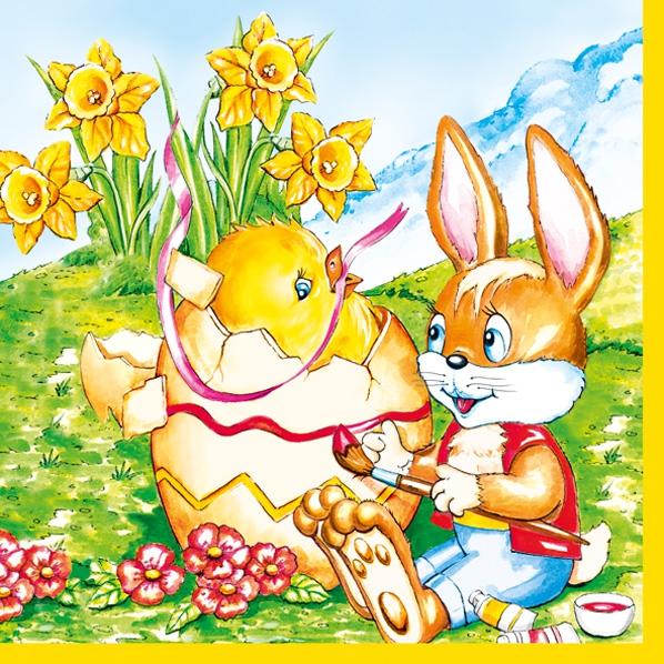 Lunch Servietten bunny and chicken,  Ostern - Hasen,  Ostern - Kücken,  Blumen -  Sonstige,  Ostern,  lunchservietten