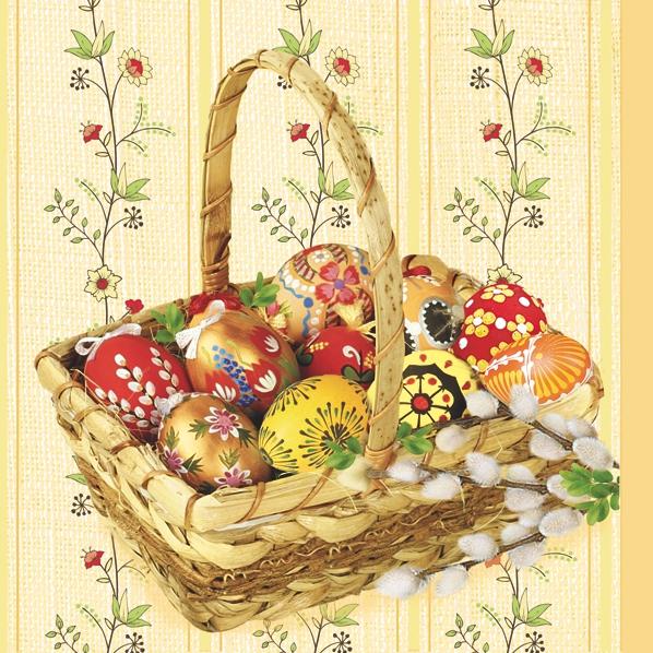 Lunch Servietten Easter Basket,  Blumen -  Sonstige,  Ostern - Ostereier,  Blumen,  Ostern,  lunchservietten