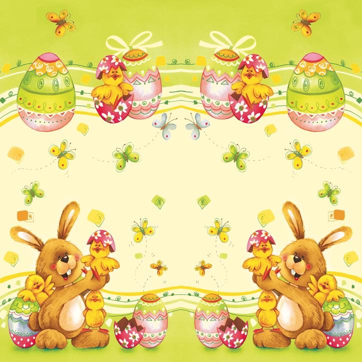 Lunch Servietten bunny white chicken,  Ostern - Kücken,  Ostern - Ostereier,  Ostern - Hasen,  Ostern,  lunchservietten