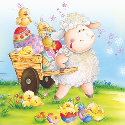 Lunch Servietten sheep with eggs,  Ostern - Ostereier,  Ostern - Kücken,  Blumen -  Sonstige,  Ostern,  lunchservietten