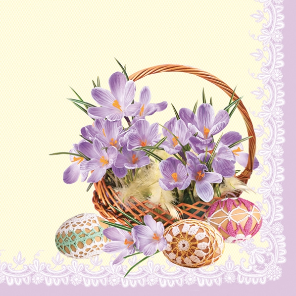 Servietten Ostern,  Ostern - Ostereier,  Blumen -  Sonstige,  Ostern,  Ostern,  lunchservietten,  Korb,  Ostereier