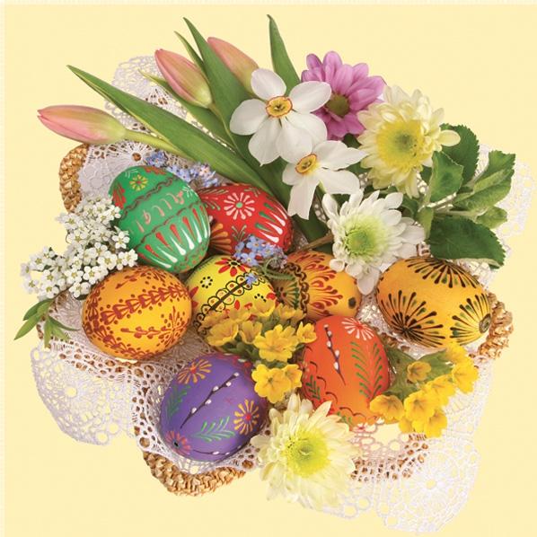 Lunch Servietten Strau? mit Ostereiern+Blumen