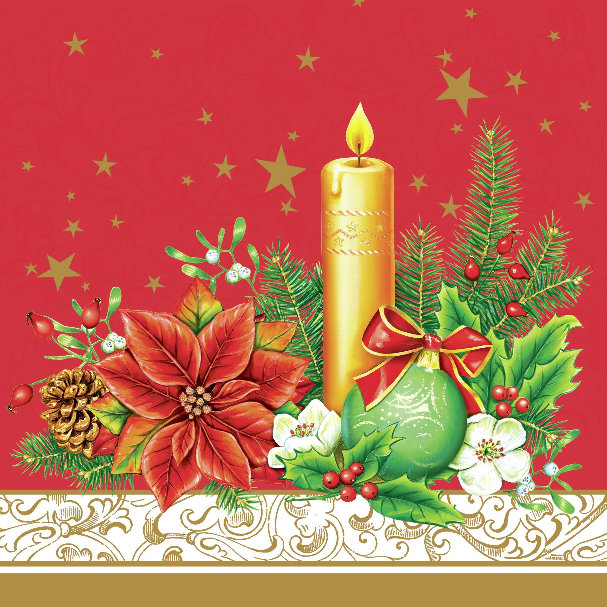 20 Servietten - 33 x 33 cm ,  Weihnachten - Kerzen,  Pflanzen - Ilex,  Weihnachten - Adventskranz,  Weihnachten,  lunchservietten,  Adventskranz,  Ilex,  Kerzen