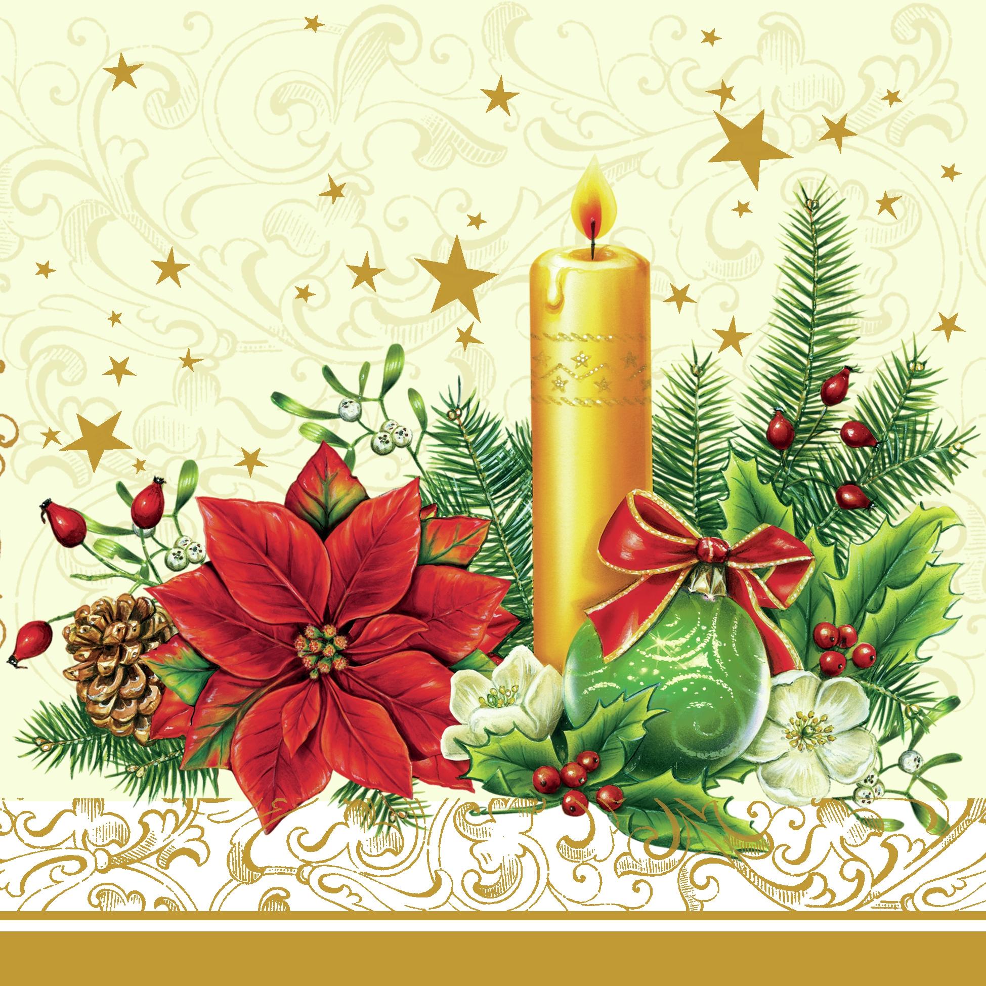 Lunch Servietten xmas candle cream,  Blumen - Christrosen,  Weihnachten - Kerzen,  Weihnachten - Weihnachtsstern,  Weihnachten,  lunchservietten