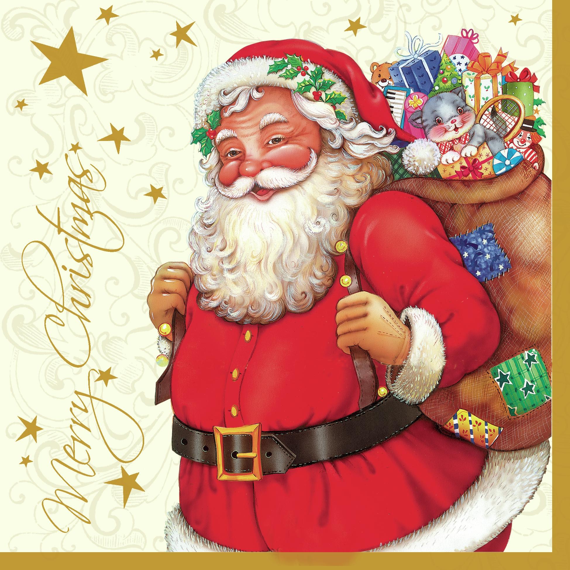 Lunch Servietten Santa cream,  Weihnachten - Geschenke,  Weihnachten - Sterne,  Weihnachten - Weihnachtsmann,  Weihnachten,  lunchservietten
